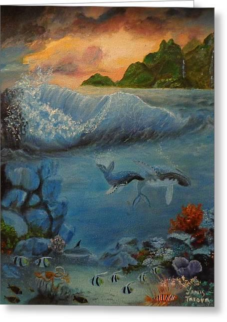 Aquarium Fish Greeting Cards - Underwater Scene 2 Greeting Card by Janis  Tafoya