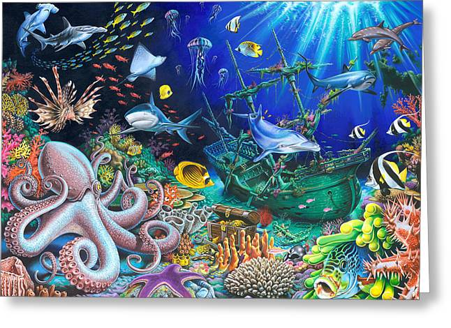 Playroom Greeting Cards - Underwater Shipwreck Greeting Card by Mark Gregory