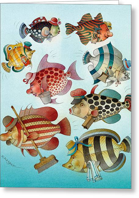 Ocean Drawings Greeting Cards - Underwater Story 01 Greeting Card by Kestutis Kasparavicius