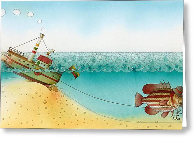 Sea Drawings Greeting Cards - Underwater Story 02 Greeting Card by Kestutis Kasparavicius