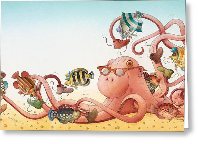 Octopus Greeting Cards - Underwater Story 05 Greeting Card by Kestutis Kasparavicius
