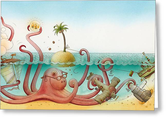 Sea Drawings Greeting Cards - Underwater Story 06 Greeting Card by Kestutis Kasparavicius