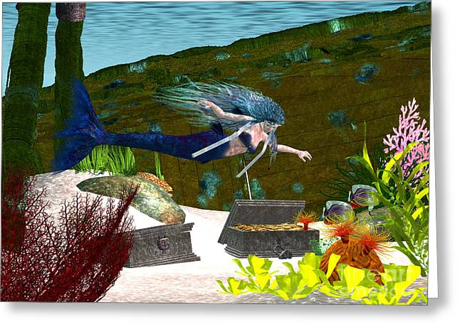 Coin Pictures Greeting Cards - Underwater Tresure Greeting Card by Corey Ford