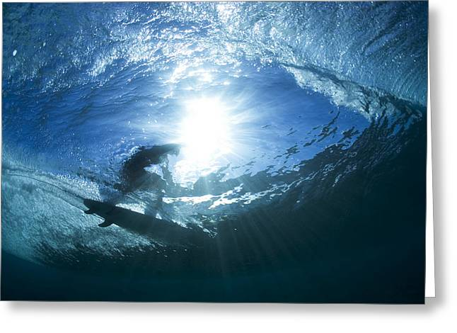 Surf Silhouette Greeting Cards - underwater view of surfing at Off The wall Greeting Card by Sean Davey