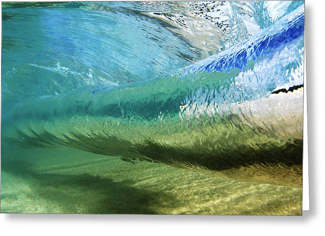 Aqua Blue Greeting Cards - Underwater Wave Curl Greeting Card by Vince Cavataio - Printscapes