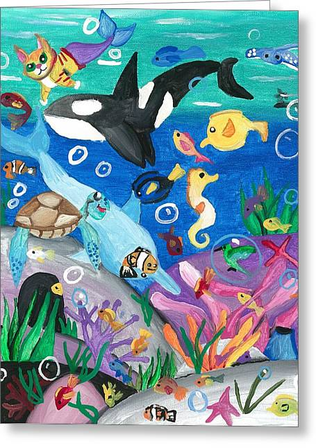 Underwater With Kitty And Friends Greeting Card by Artists With Autism Inc