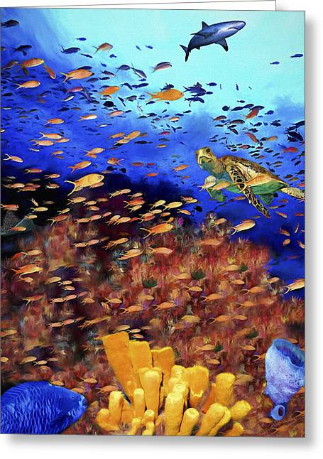 Reef Fish Paintings Greeting Cards - Underwater Wonderland Greeting Card by David Wagner