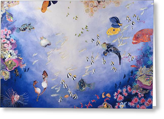 Tropical Oceans Greeting Cards - Underwater World Iv Acrylic On Canvas Greeting Card by Odile Kidd