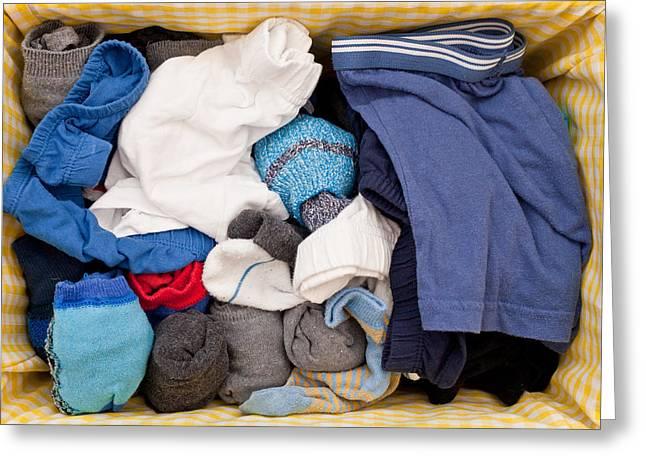 Flexibility Greeting Cards - Underwear and socks Greeting Card by Tom Gowanlock
