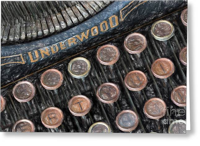 Typewriter Keys Drawings Greeting Cards - Underwood typewriter Greeting Card by Carsten Reisinger