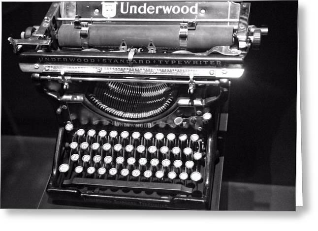 Typewriter Greeting Cards - Underwood Typewriter Greeting Card by Dan Sproul