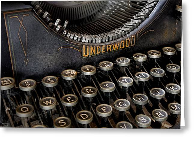 Typewriter Greeting Cards - Underwood Typewriter Details Greeting Card by Susan Candelario