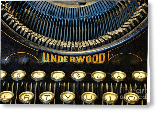 Editor Photographs Greeting Cards - Underwood Typewriter Greeting Card by Paul Ward