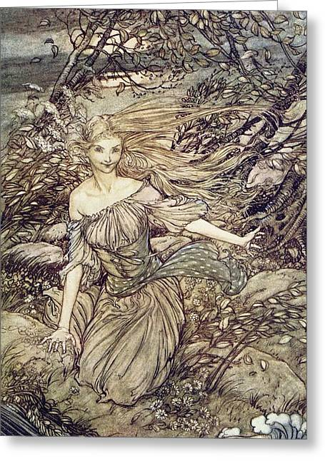 Fairies Drawings Greeting Cards - Undine Greeting Card by Arthur Rackham