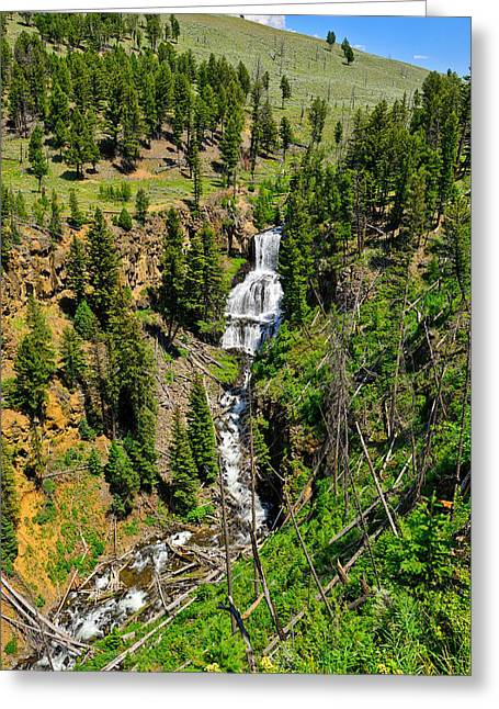 Yellowstone National Park Greeting Cards - Undine Falls 2013 Greeting Card by Greg Norrell