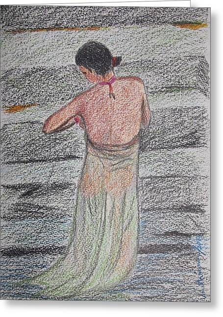 Stone Steps Pastels Greeting Cards - Undressing Greeting Card by Vineeth Menon