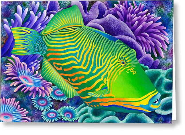 Trigger Greeting Cards - Undulated Trigger Fish Greeting Card by Carolyn Steele