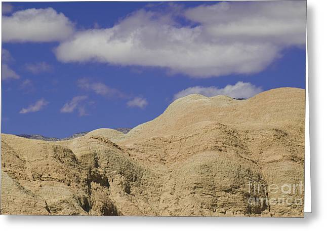 Blue Mudstone Greeting Card featuring the photograph Undulating Mudstone Hills Near Fonts by Ellen Thane