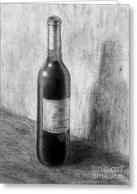 French Wine Bottles Drawings Greeting Cards - Une bouteille de vin rouge Greeting Card by Jacqueline Barden