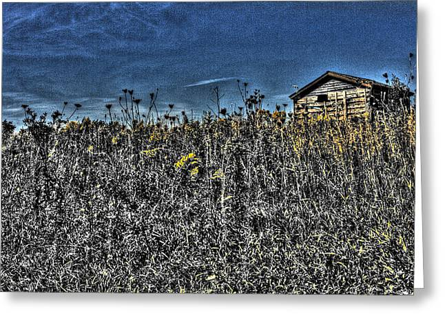 Freakish Greeting Cards - Unearthly Shed on Illinois Tallgrass Prairie Greeting Card by Roger Passman