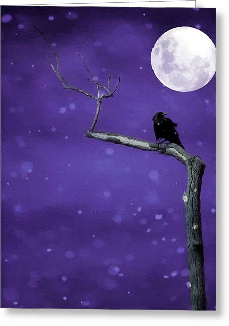 Crows In Trees Greeting Cards - Unearthly Sky Greeting Card by Gothicolors Donna Snyder