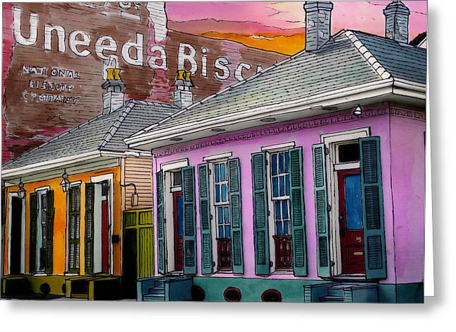 French Doors Greeting Cards - Uneeda Bisquit Building 383 Greeting Card by John Boles