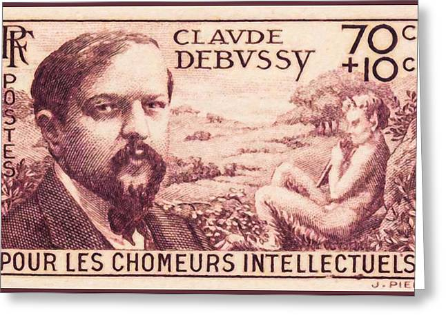 Statue Portrait Paintings Greeting Cards - Unemployed For Intellectual Claude Debussy Stamp Greeting Card by Lanjee Chee