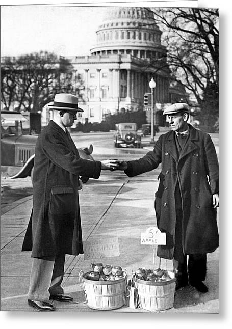 Unemployed Man Sells Apples Greeting Card by Underwood Archives