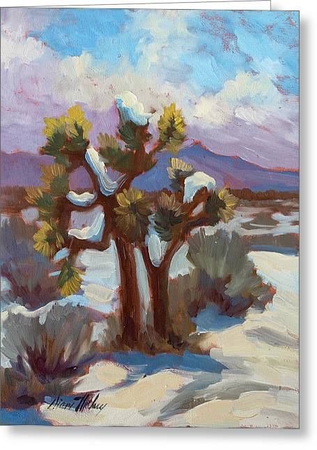 Park Scene Greeting Cards - Unexpected Snowfall at Joshua Tree Greeting Card by Diane McClary