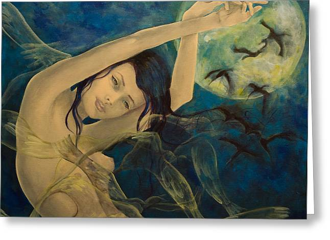 Birds Moon Greeting Cards - Unfinished Song Greeting Card by Dorina  Costras