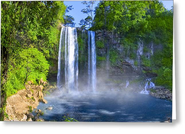 Recently Sold -  - Unique Art Greeting Cards - Unforgettable Waterfalls of Chiapas Mexico Greeting Card by Mark Tisdale