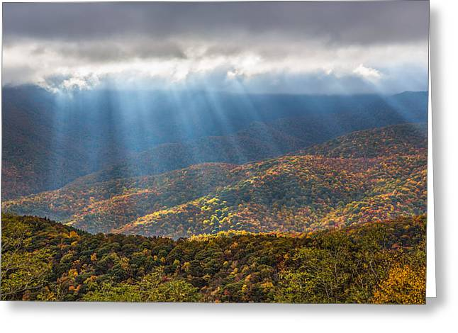 Southern Appalachians Greeting Cards - Unfurled Autumn Splendor Greeting Card by Carl Amoth