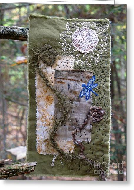 Dragonflies Tapestries - Textiles Greeting Cards - Unfurling Greeting Card by Linda Marcille