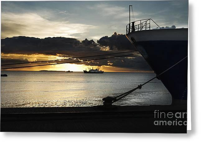 Asta Greeting Cards - Sunset Unguja Port StoneTown Harbor Zanzibar Tanzania - STONE TOWN EDITIONS AFRICA SNAPSHOTS Greeting Card by Nasser Studios