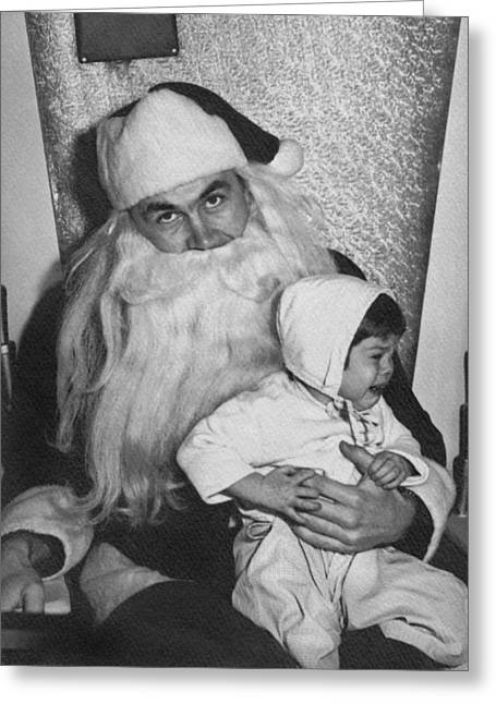 Unhappy Santa Claus Greeting Card by Underwood Archives