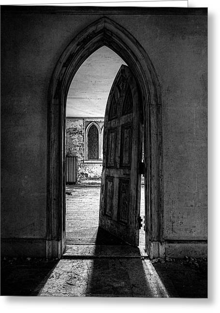 Framed Old Door Print Greeting Cards - Unhinged - Old Gothic door in an Abandoned Castle Greeting Card by Gary Heller