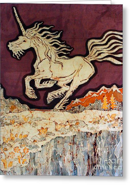 Equine Tapestries - Textiles Greeting Cards - Unicorn Above Chasm Greeting Card by Carol Law Conklin