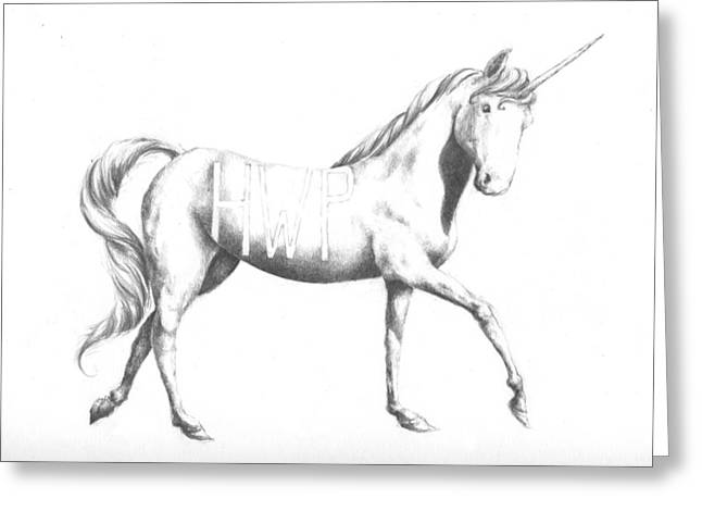 Height Drawings Greeting Cards - Unicorn Greeting Card by Alexander M Petersen