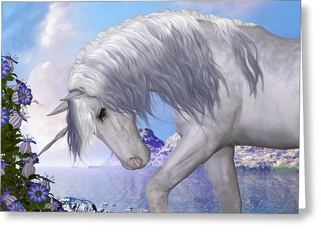 Fabled Greeting Cards - Unicorn and Blue Bell Flowers Greeting Card by Corey Ford