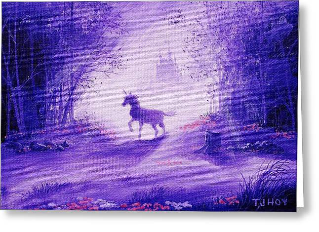 Haze Paintings Greeting Cards - Unicorn And Castle Fairy Tale Fantasy Greeting Card by Tom Hoy