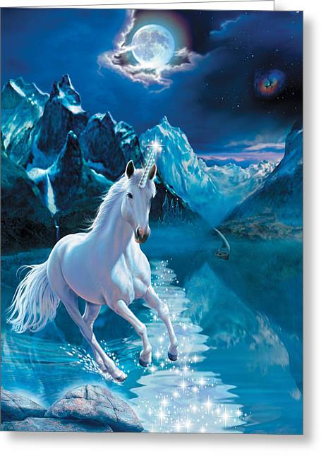Unicorn Greeting Card by Andrew Farley