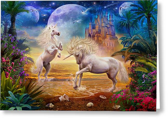 Sand Castles Greeting Cards - Unicorn Beach Greeting Card by Jan Patrik Krasny
