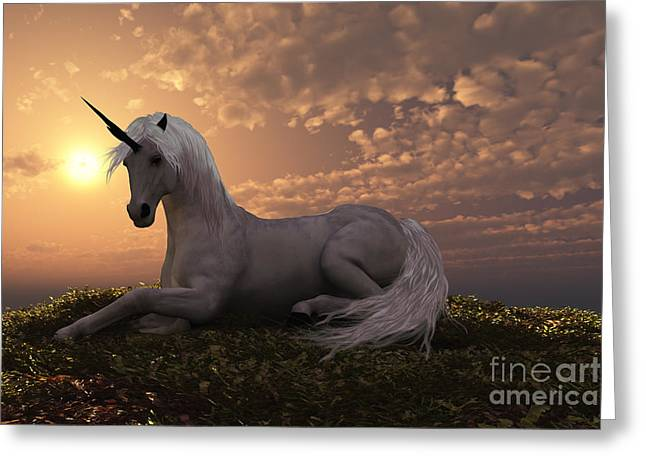 Fabled Digital Greeting Cards - Unicorn Greeting Card by Corey Ford