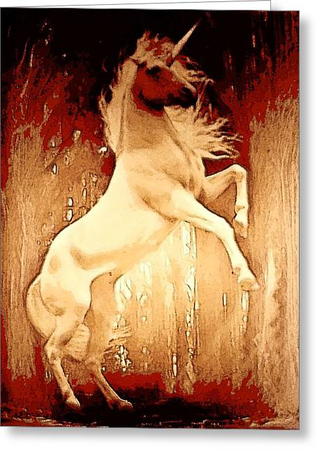 Web Gallery Greeting Cards - Unicorn Greeting Card by David Alvarez