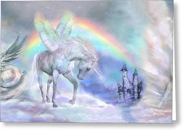 Rainbow Fantasy Art Greeting Cards - Unicorn Dreams Greeting Card by Carol Cavalaris