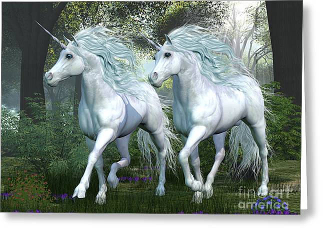Elm Digital Art Greeting Cards - Unicorn Elm Forest Greeting Card by Corey Ford