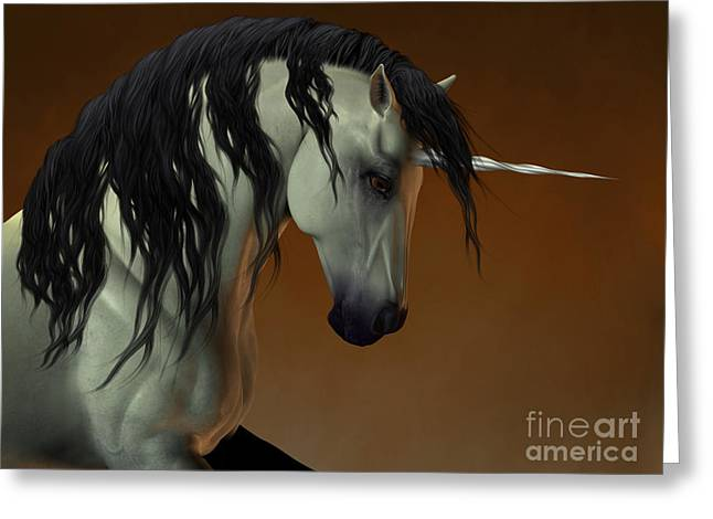 Fabled Greeting Cards - Unicorn Fable Greeting Card by Corey Ford