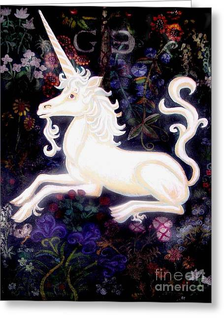 Narwhal Greeting Cards - Unicorn Floral Greeting Card by Genevieve Esson