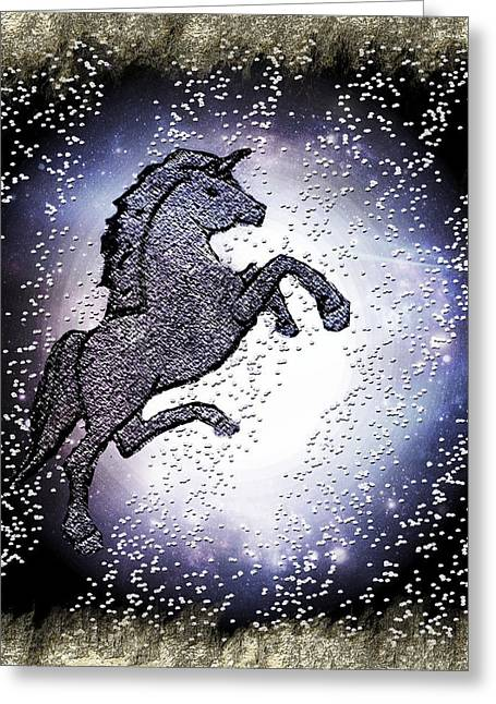 Quarter Horse Mixed Media Greeting Cards - Unicorn Magic Art Greeting Card by Sherry Gombert