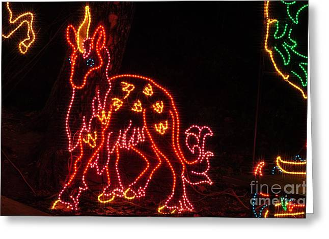 Christmas Lights Greeting Cards - Unicorn Greeting Card by Mandy Judson